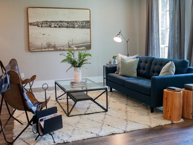 The renovated living room of the Whyte residence, as seen on Fixer Upper.