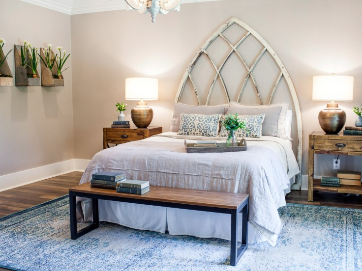 The newly remodeled bedroom in the Whyte residence, as seen on Fixer Upper.